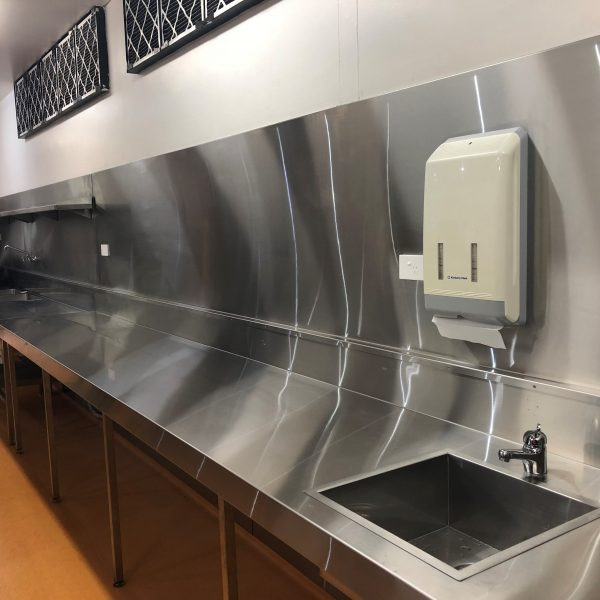 Stainless steel bench splash back